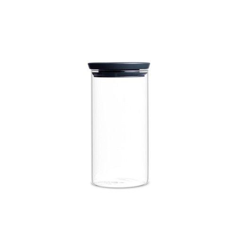 荷蘭 Brabantia - 玻璃食物黑蓋儲存罐-經典黑 (1.1L)