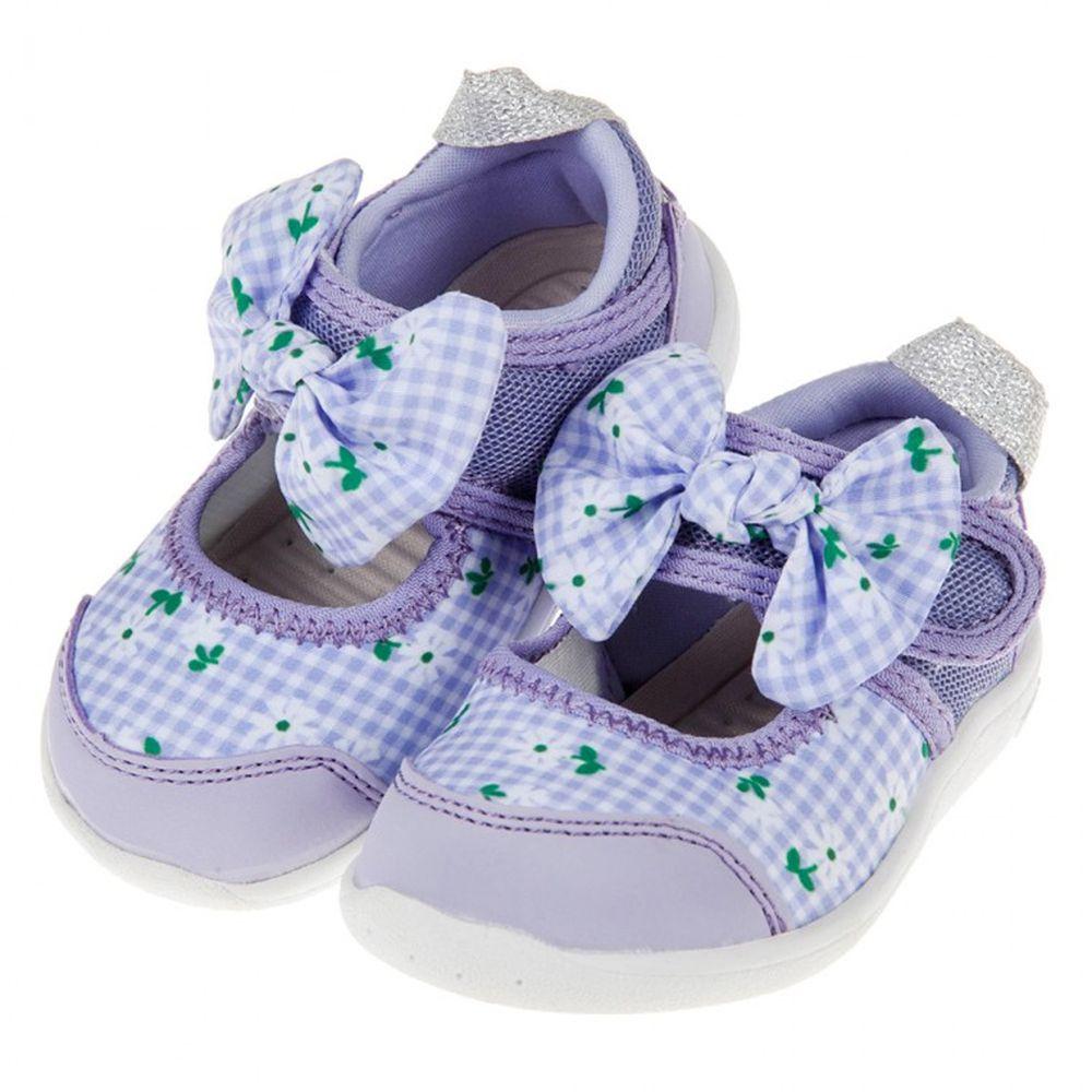 IFME - 格紋花朵紫色蝴蝶結公主機能水涼鞋