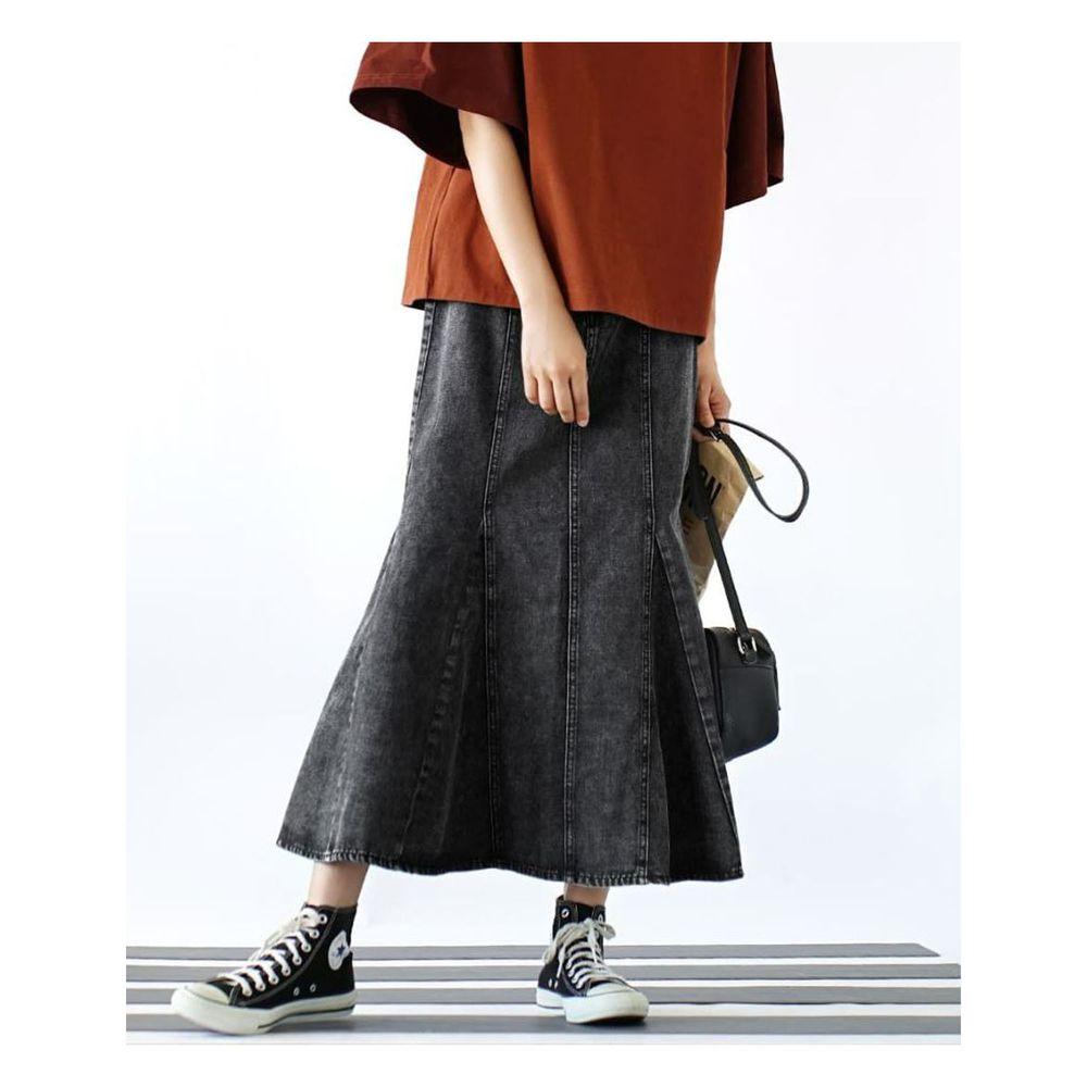 日本 zootie - 魚尾造型牛仔長裙-黑