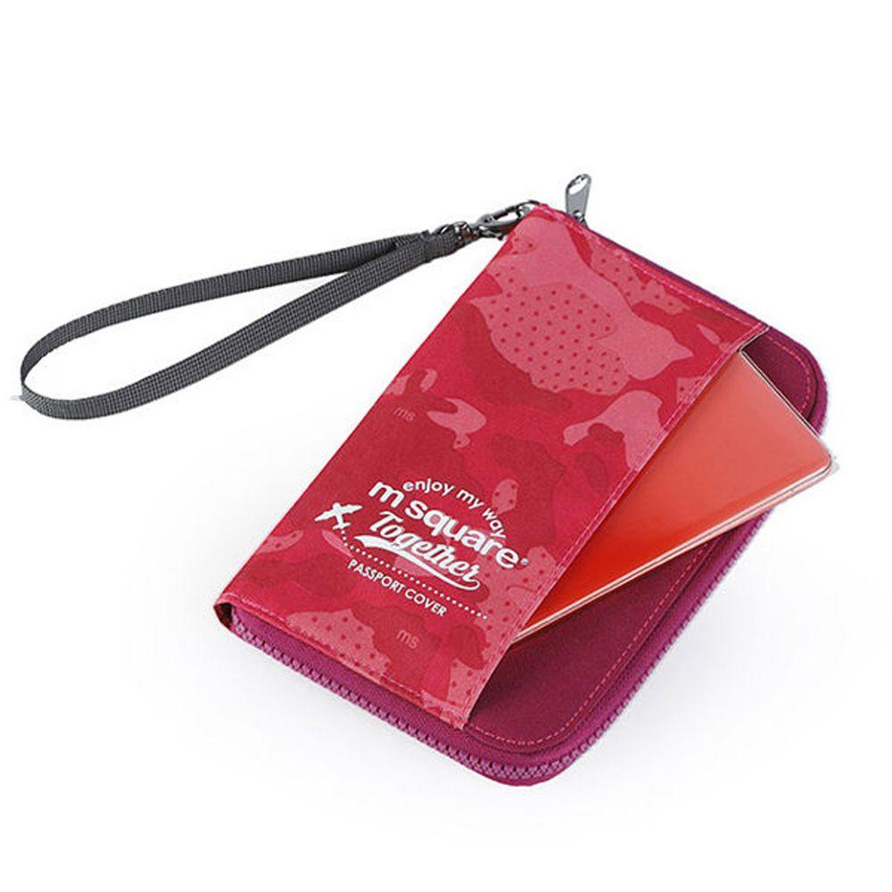 m square - 短版手挽護照夾紀念版-迷彩粉 (18.5*11.5cm)