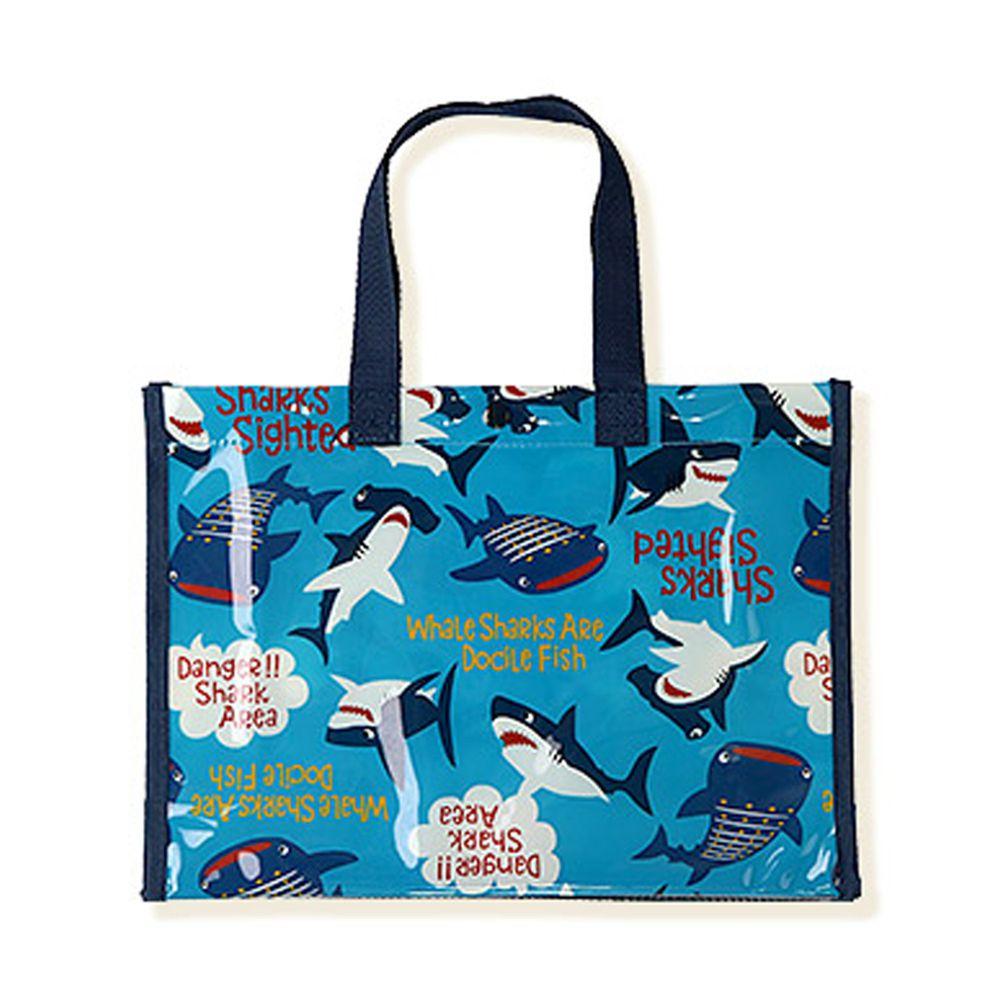 日本 ZOOLAND - 防水PVC手提袋/游泳包-A鯨鯊兄弟-藍 (25x34x11cm)