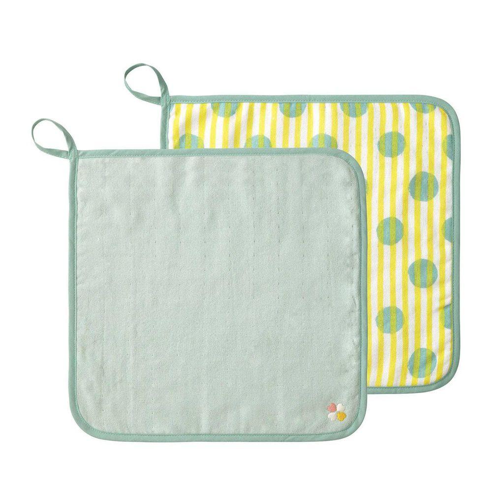 日本 Combi - mini系列-雙面用方巾2入-果綠 (30x30cm)