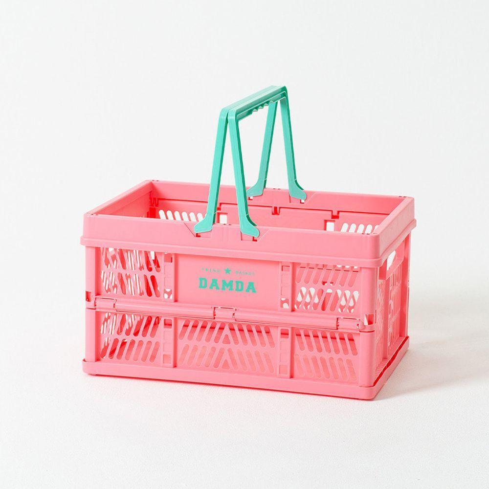 韓國 Damda - 折疊手提收納籃-32L-粉紅-43.5X30.5cm