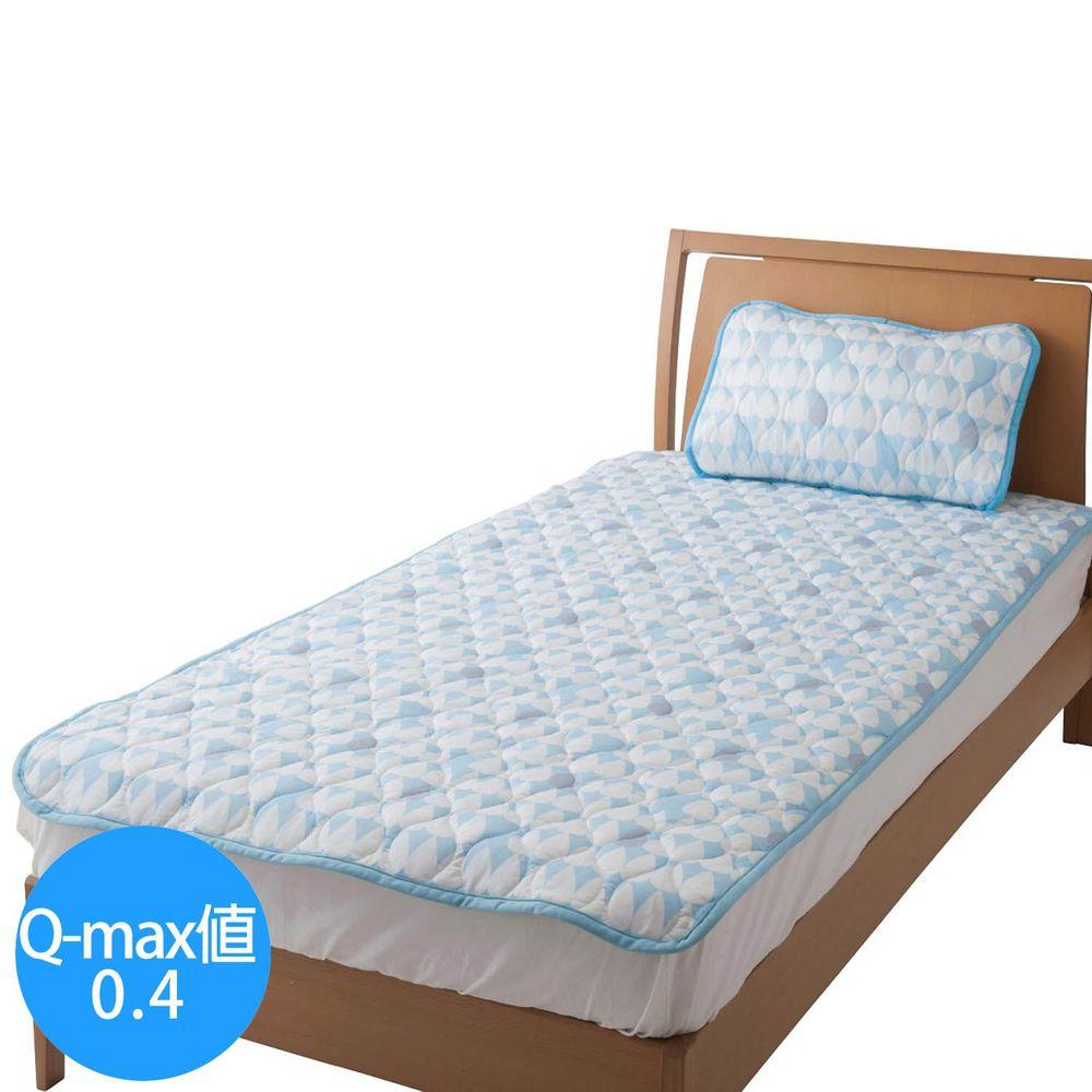 日本小泉 - 節電對策冷感波浪紋床墊毯-雨點-水藍 (100x205cm)