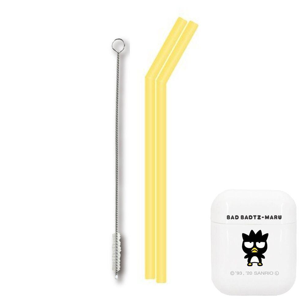日本 Hashy - 便攜型矽膠吸管兩入組(附收納盒+清洗刷)-酷企鵝 (直徑7mm*18.5cm)