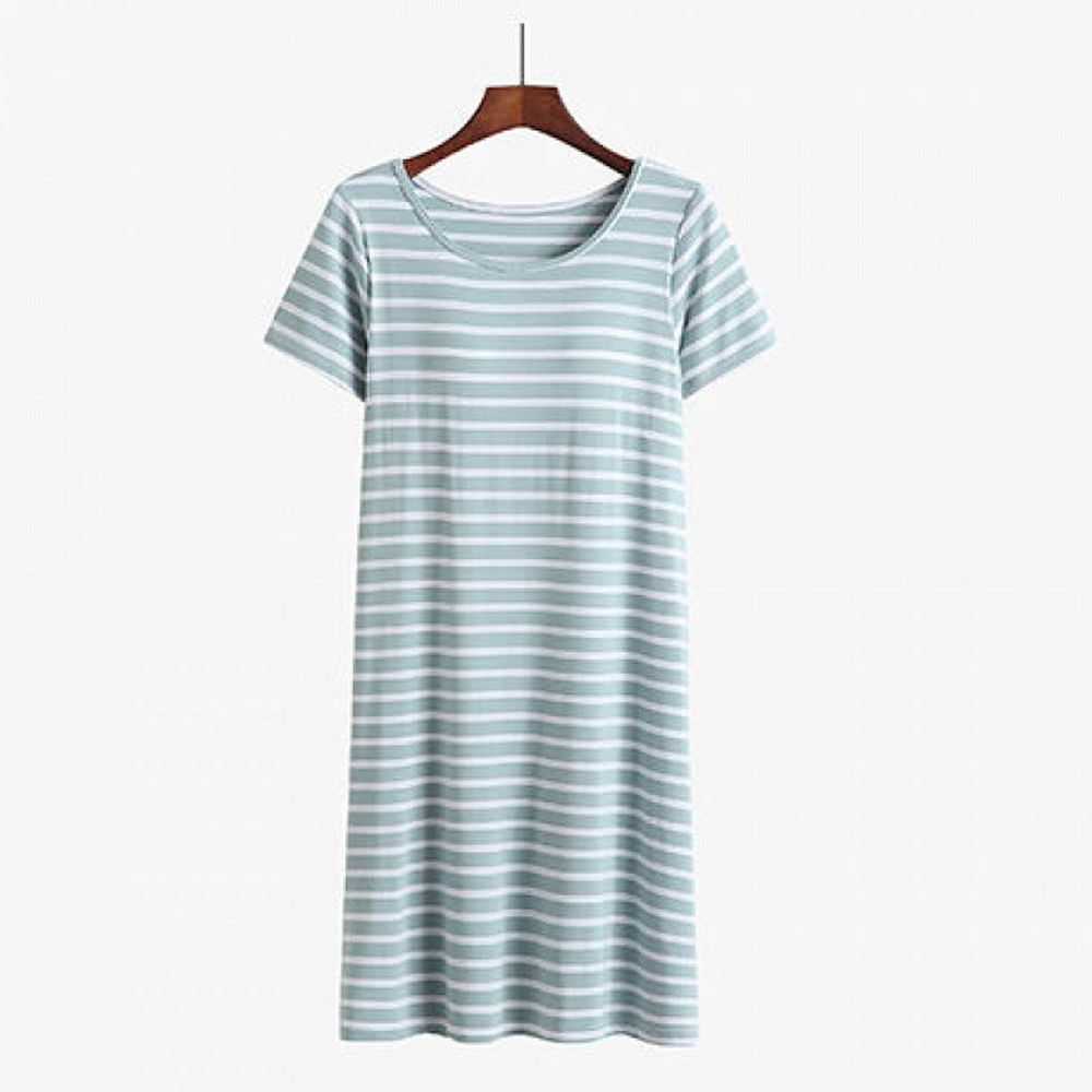 棉質柔軟涼感Bra T條紋睡裙-綠白條紋