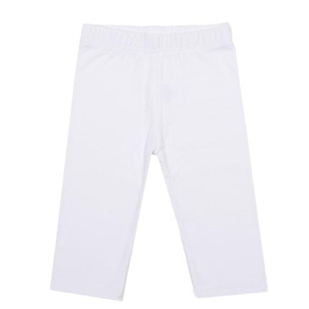韓國 Rainbowkids - 40支純棉單色7分內搭褲-白