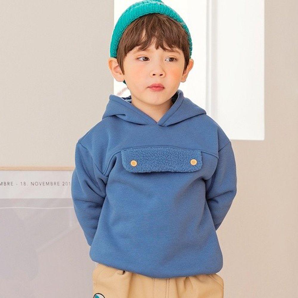 韓國 Bebezoo - (搖粒絨)休閒連帽T-藍