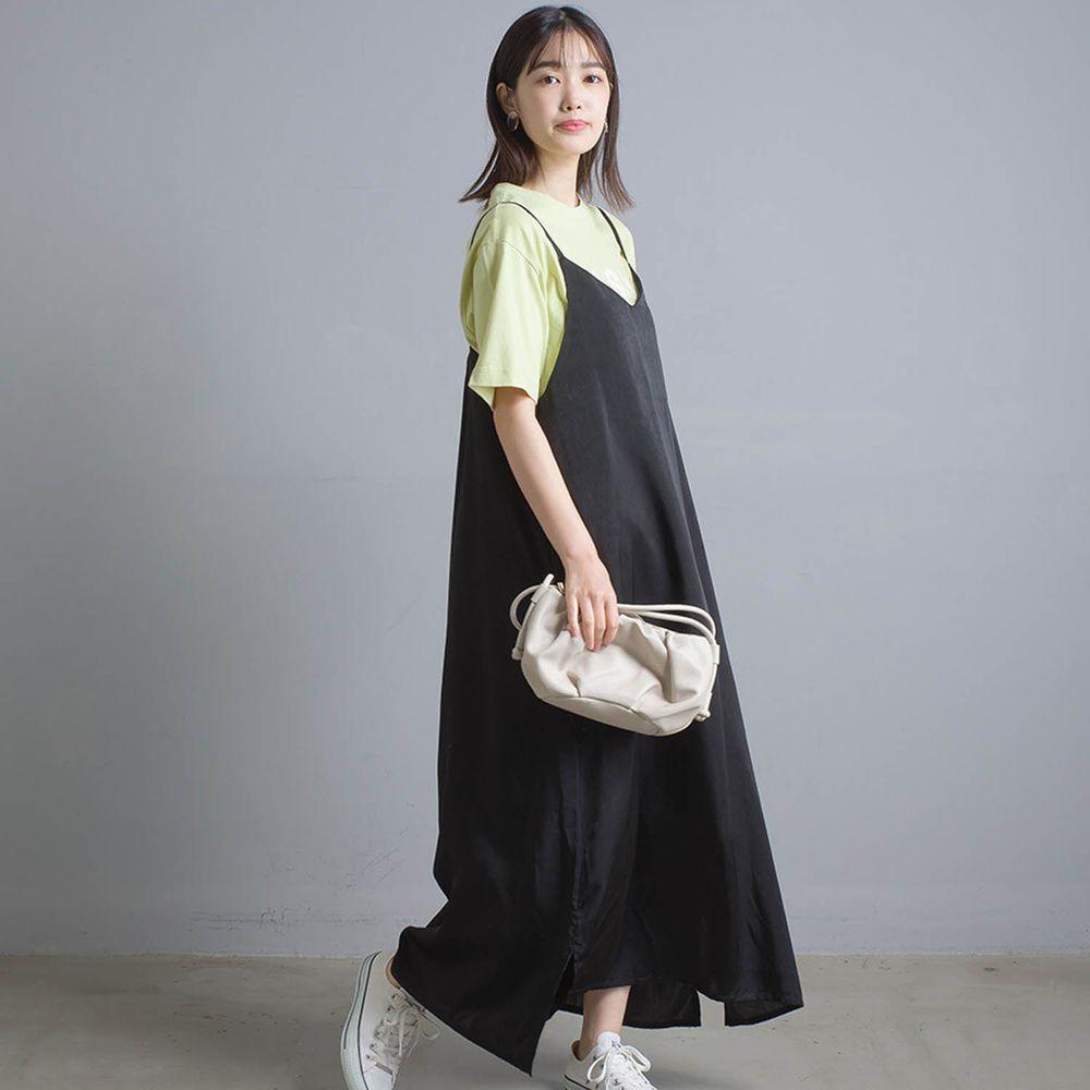 日本 OMNES - 奢華光澤感細肩帶背心洋裝-黑