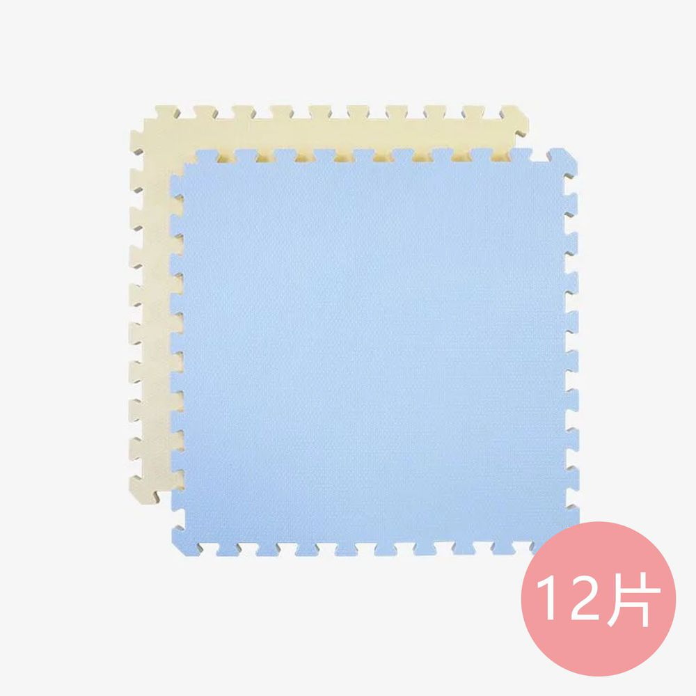 Pato.Pato - EVA巧拼地墊-馬卡龍雙色雙面-鵝黃&灰藍 (60x60x2cm)-12片 (附贈邊條x24)