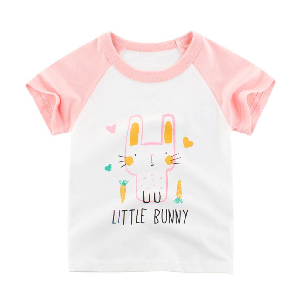 純棉短袖上衣-兔子-米白/粉紅