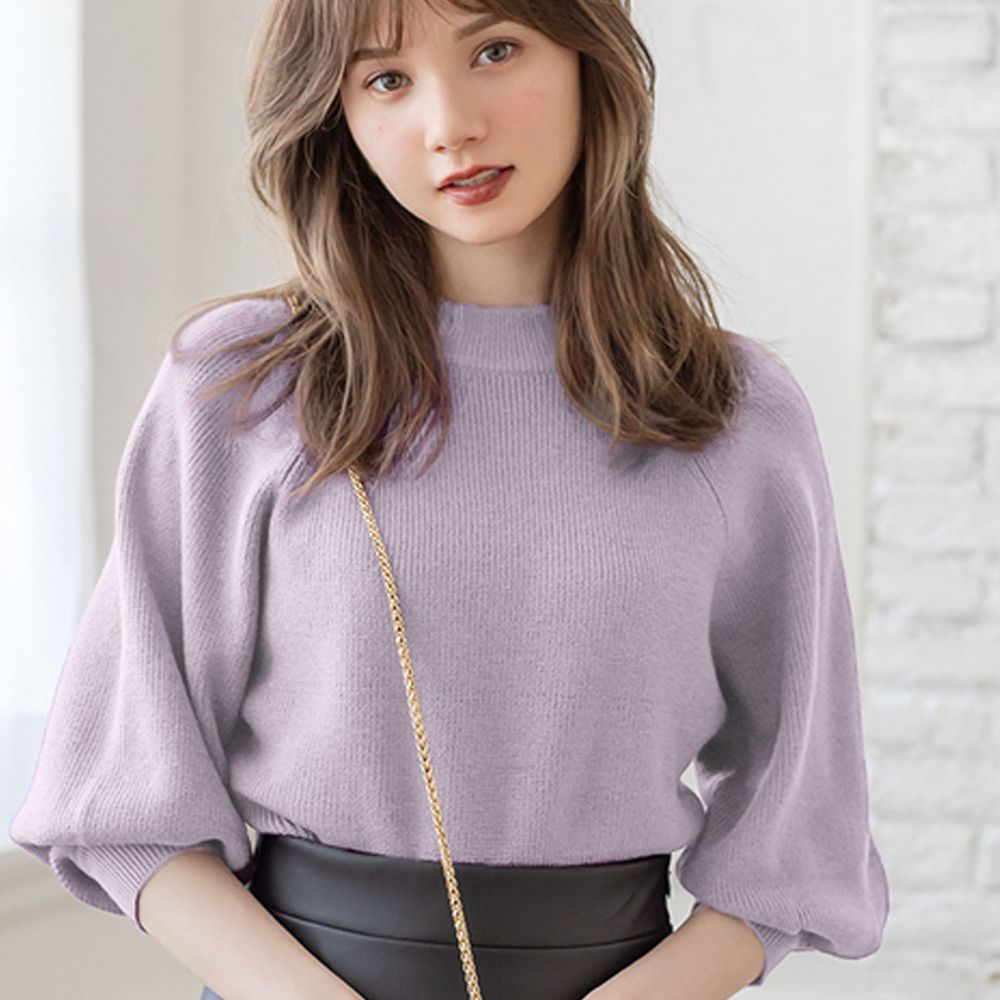 日本 GRL - 小高圓領七分袖薄款針織上衣-淺紫