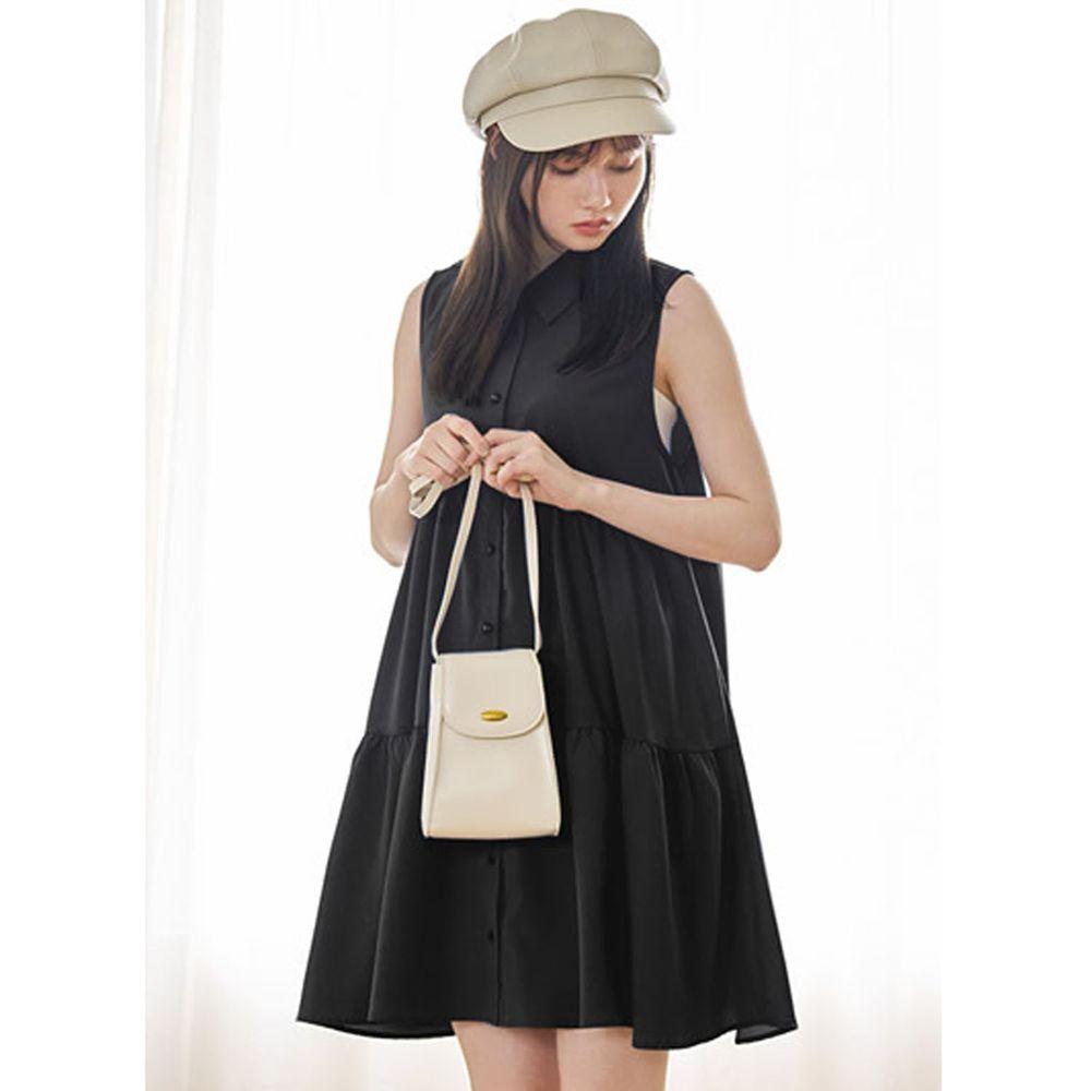日本 GRL - 簡約蛋糕層次無袖洋裝-時尚黑