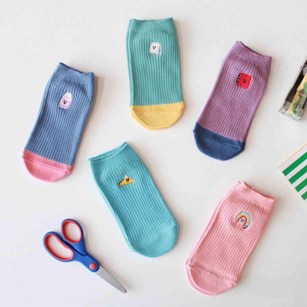 韓國 Kokacharm - 韓國製船型襪-五件組-School supplies