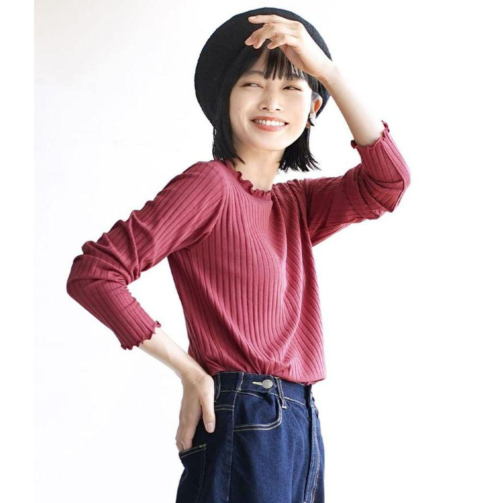 日本 zootie - 輕薄木耳邊粗羅紋貼身長袖上衣-莓果粉