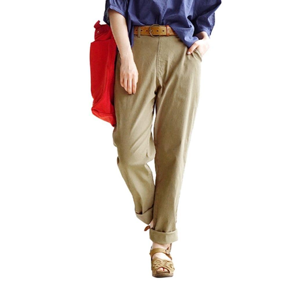 日本 zootie - Air Pants 輕薄彈性男友風寬鬆長褲-杏褐