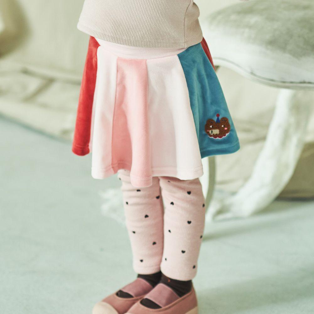 韓國 Mimico - (裏起毛)彩色傘狀褲裙-粉紅
