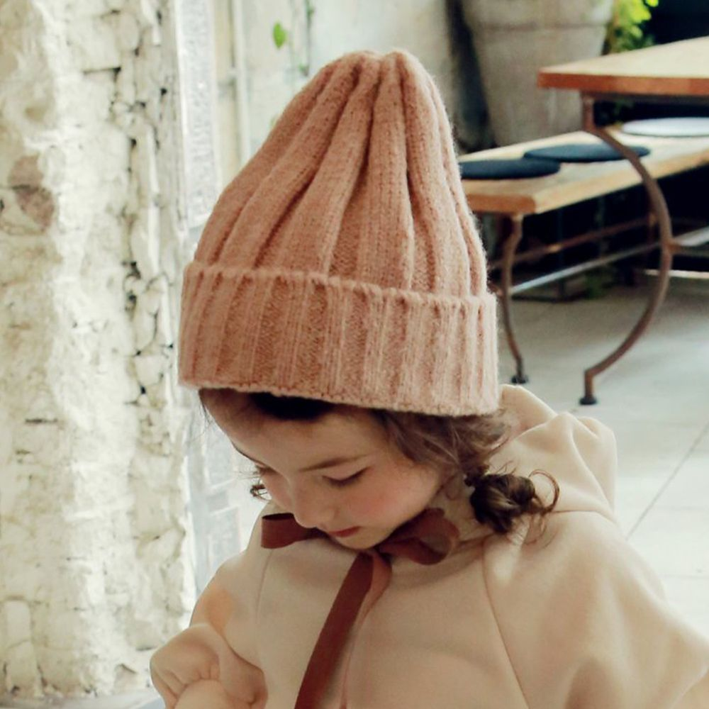 韓國 PuellaFLO - 直紋針織毛帽-粉紅