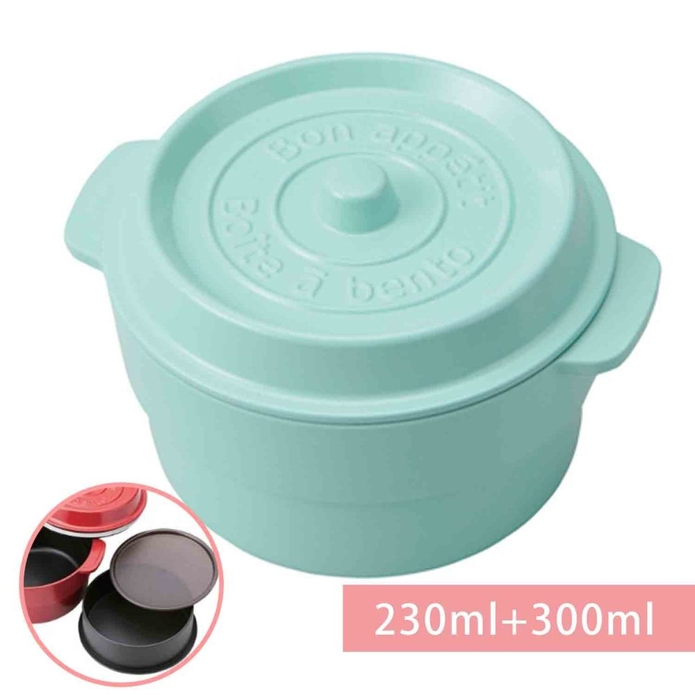日本 TAKENAKA - 日本製鑄鐵鍋造型便當盒/保鮮盒-兩段式-薄荷綠-230ml+300ml