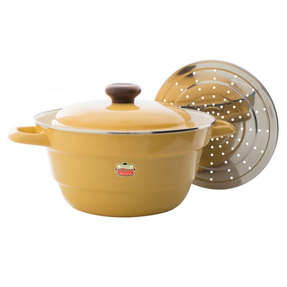 FUJIHORO 富士琺瑯 - 萬用鍋系列-27cm雙耳附蒸盤琺瑯萬用鍋-藤黃-容量:5.4L 重量:2.25kg
