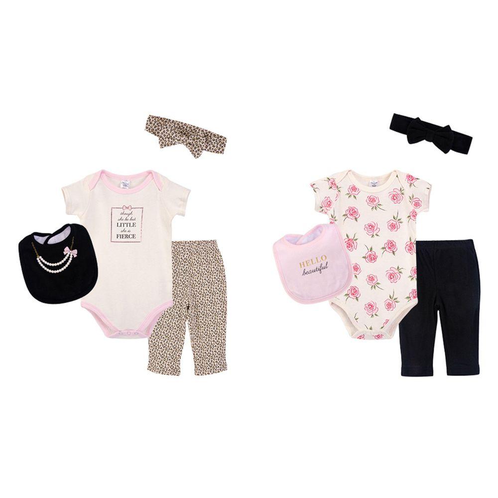 美國 Luvable Friends - 嬰幼兒包屁衣與長褲最佳送禮8入禮盒組-派對公主 (0-6M)