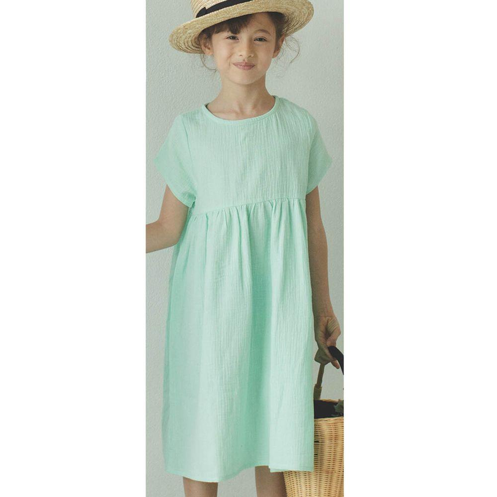 日本 PAIRMANON - 純棉二重紗素色短袖洋裝(孩子)-清新薄荷