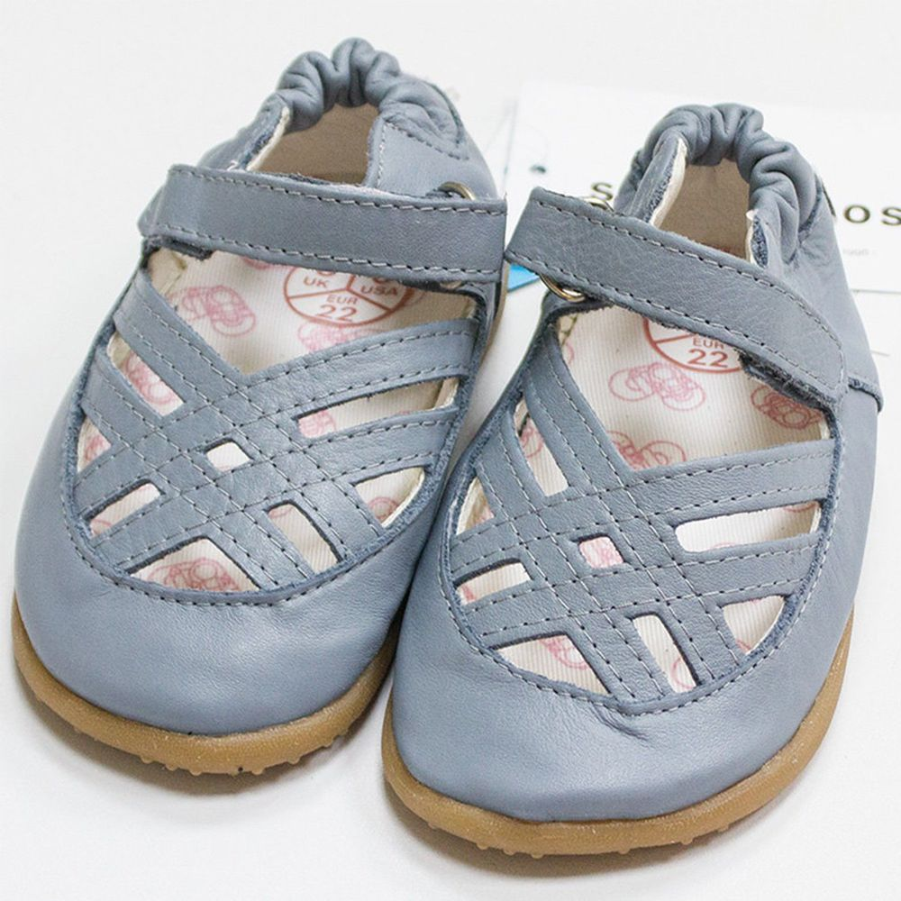 英國 shooshoos - 健康無毒真皮手工涼鞋/童鞋-典雅藍編織