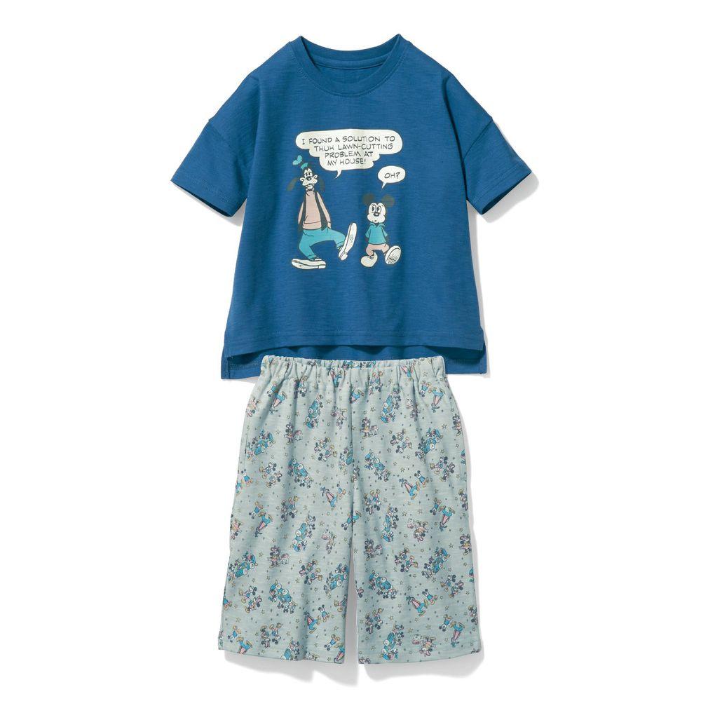 日本千趣會 - 迪士尼純棉印花短袖家居服-米奇與好友-藍