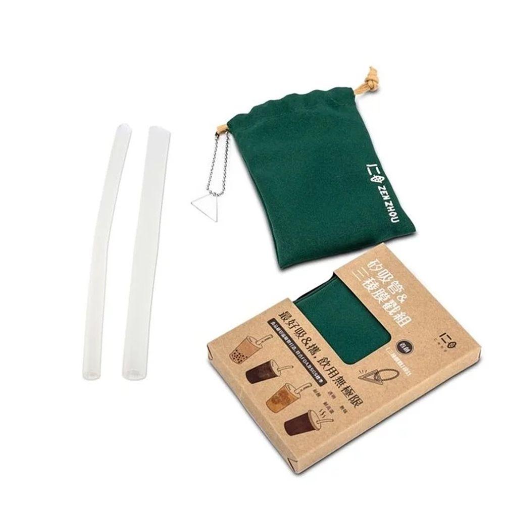 仁舟淨塑 - 新一代矽吸管&三稜膜戳組-大地綠-單套組