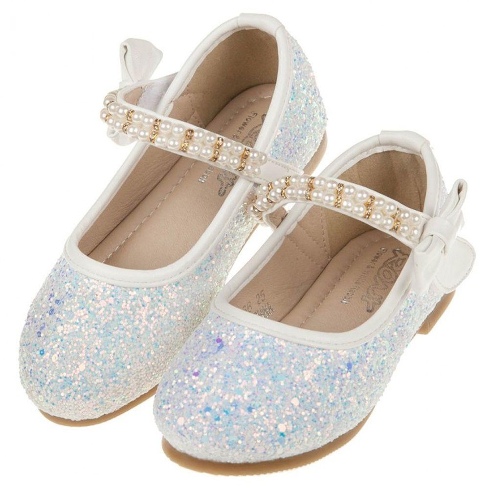 珍珠鍊帶冰藍亮片白色兒童公主鞋