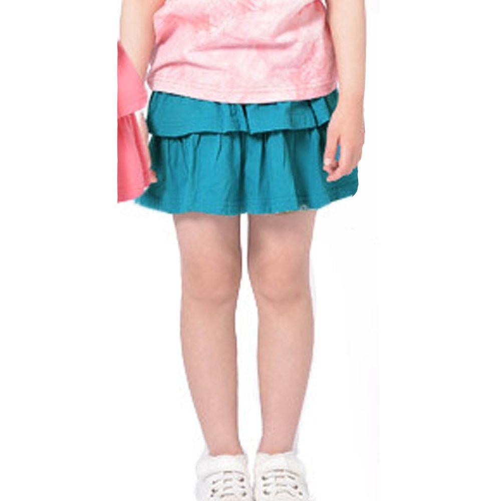 日本 TORIDORY - 百搭蛋糕安全褲裙-藍綠X黑