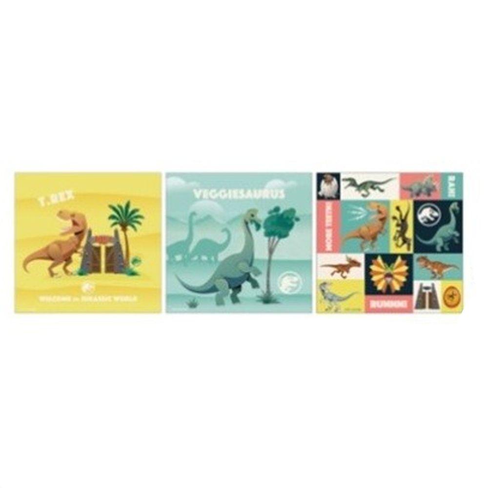 日本代購 - 卡通方形手帕三件組-侏羅紀世界 (30x30cm)
