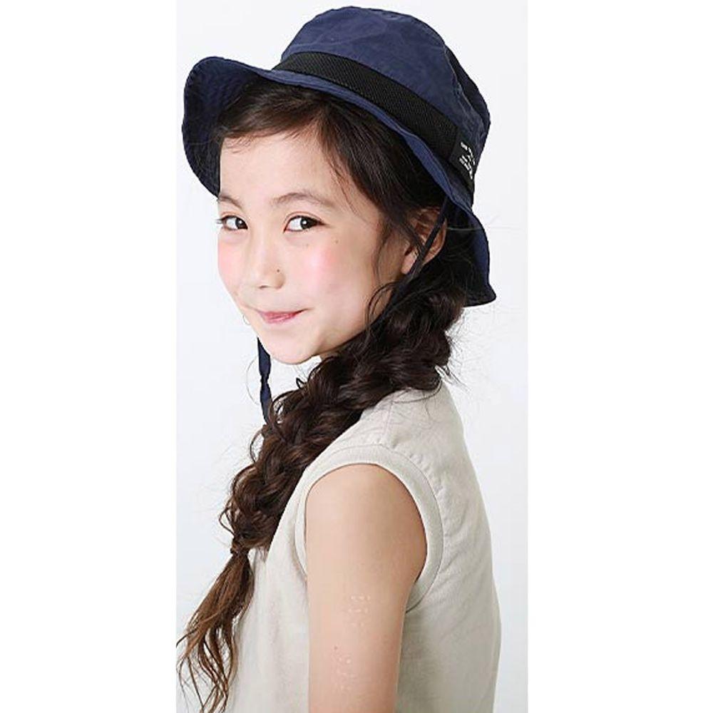 日本 devirock - 撥水加工抗UV可收納透氣兒童遮陽帽(附帽帶)-深藍