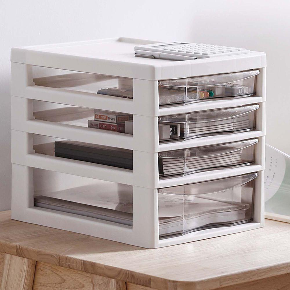 日本JEJ - 辦公桌上型A4文件收納櫃-1大抽3小抽-米白