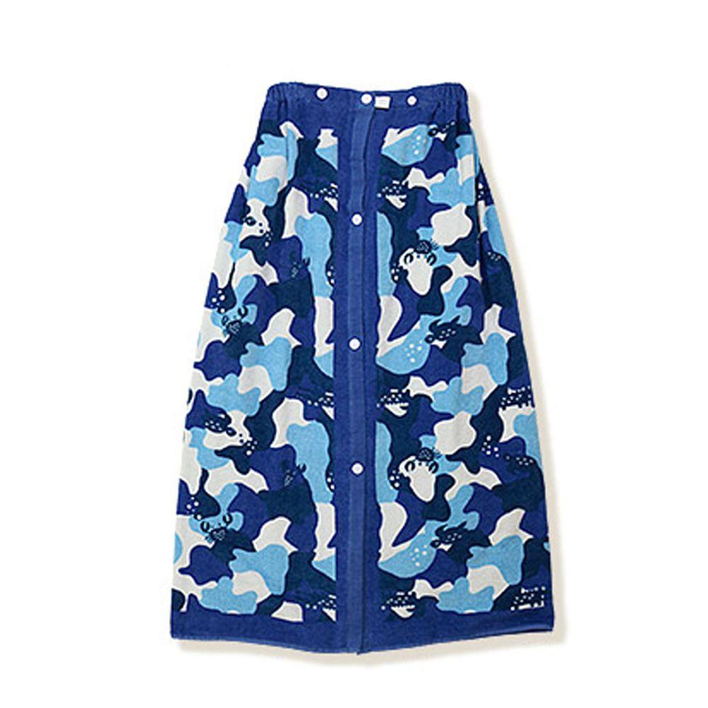 日本 ZOOLAND - 純棉海灘/游泳浴巾/浴袍 (附釦)-C迷彩-藍 (長80cm(國小中年級以上))