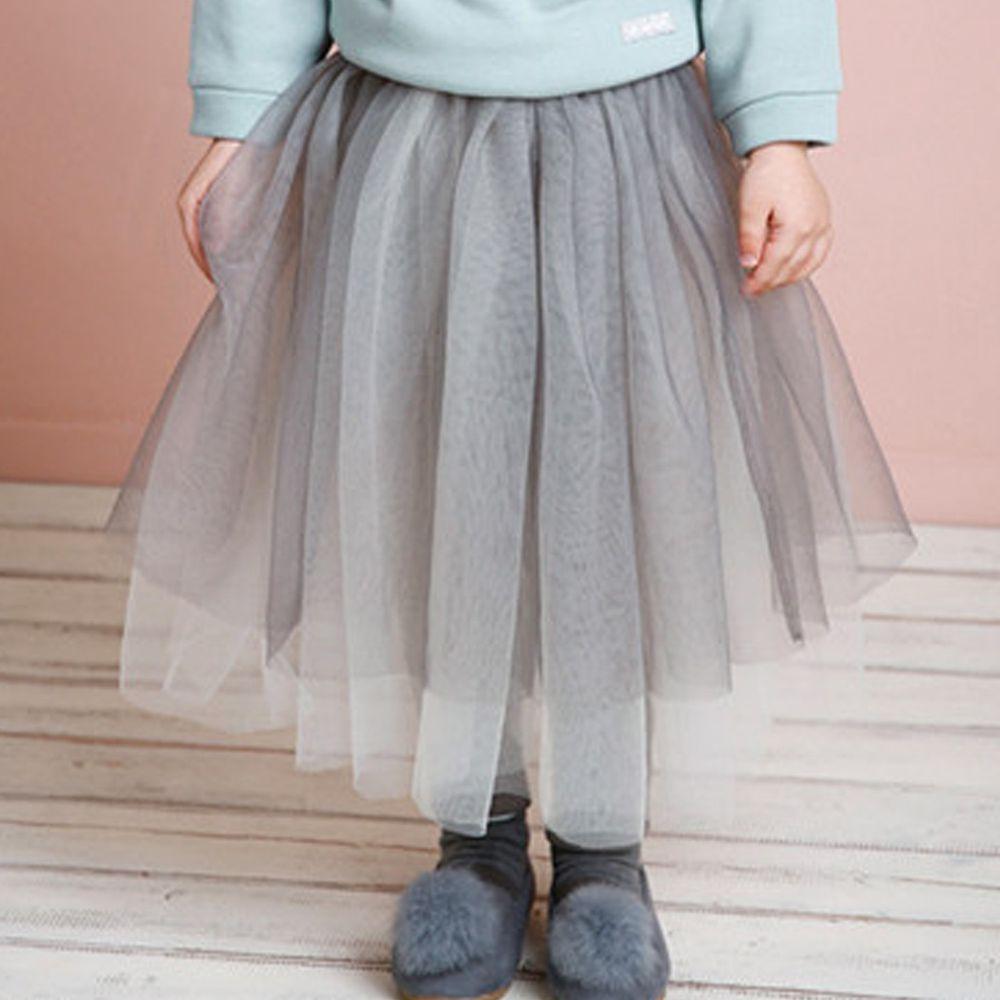 韓國 Jelispoon - (內刷毛)皺摺網紗褲裙-灰