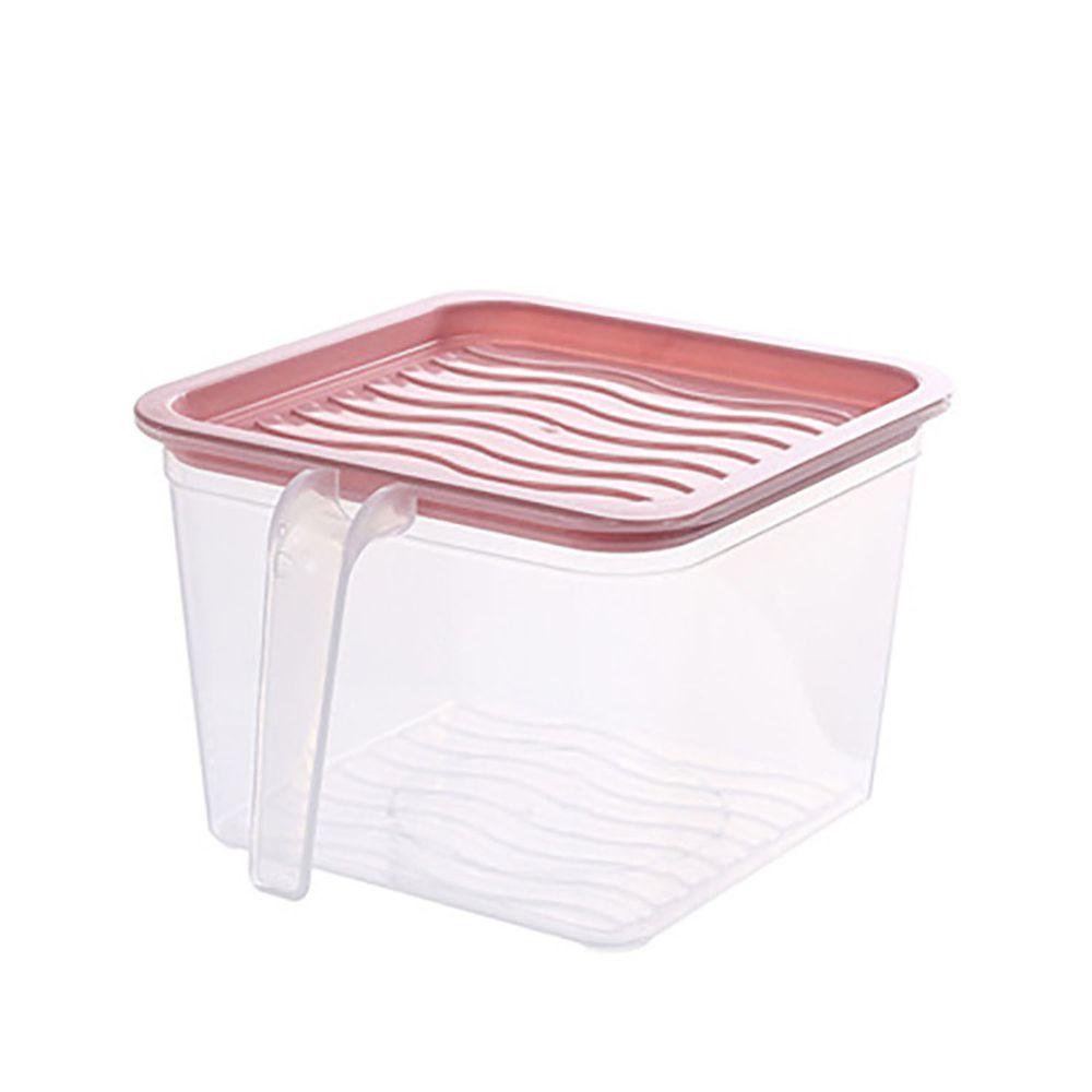 長方形透明附蓋收納盒-有把手款-淺粉