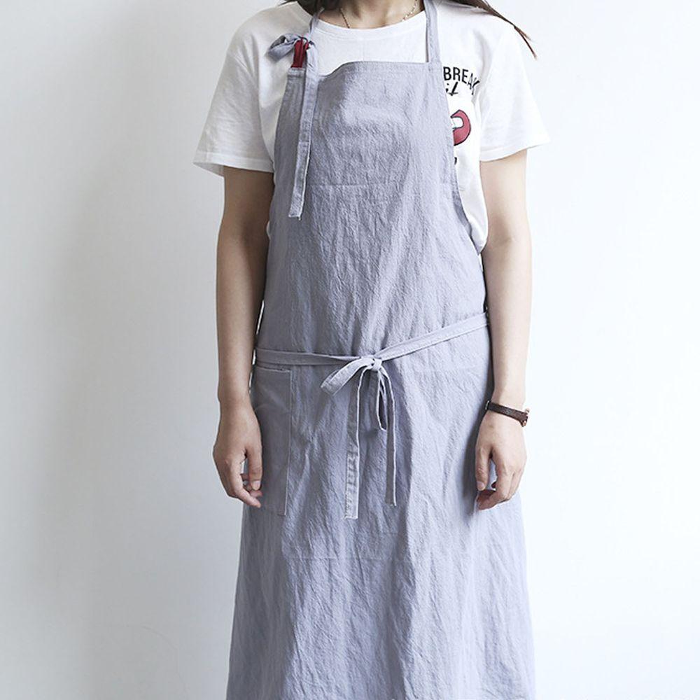 率性扣帶水洗棉麻圍裙-銀灰色