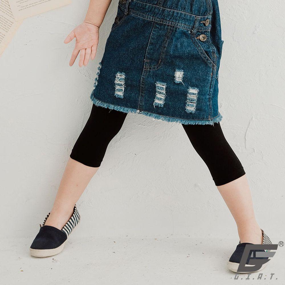 GIAT - 防蚊抗走光親膚彈性童褲襪-七分款-黑色