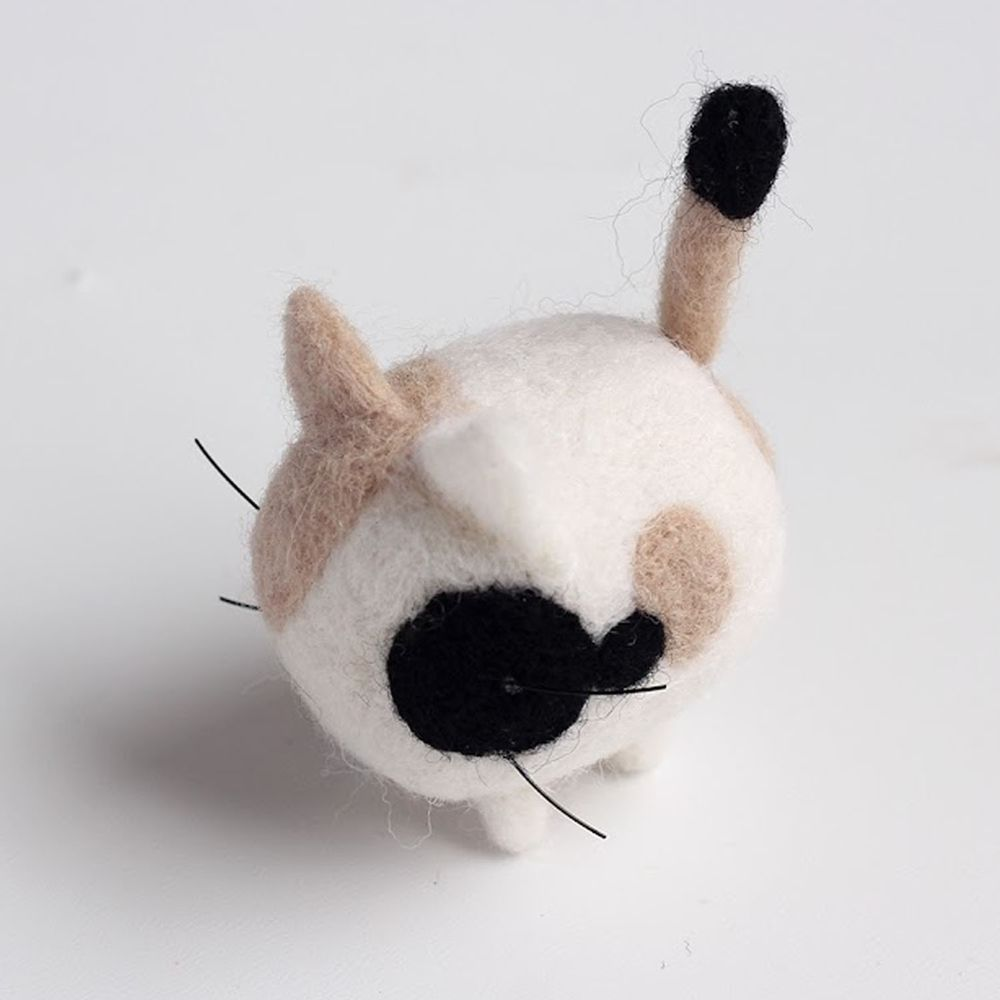 Diy寵物造型羊毛氈戳戳樂材料包-三花斑點貓咪