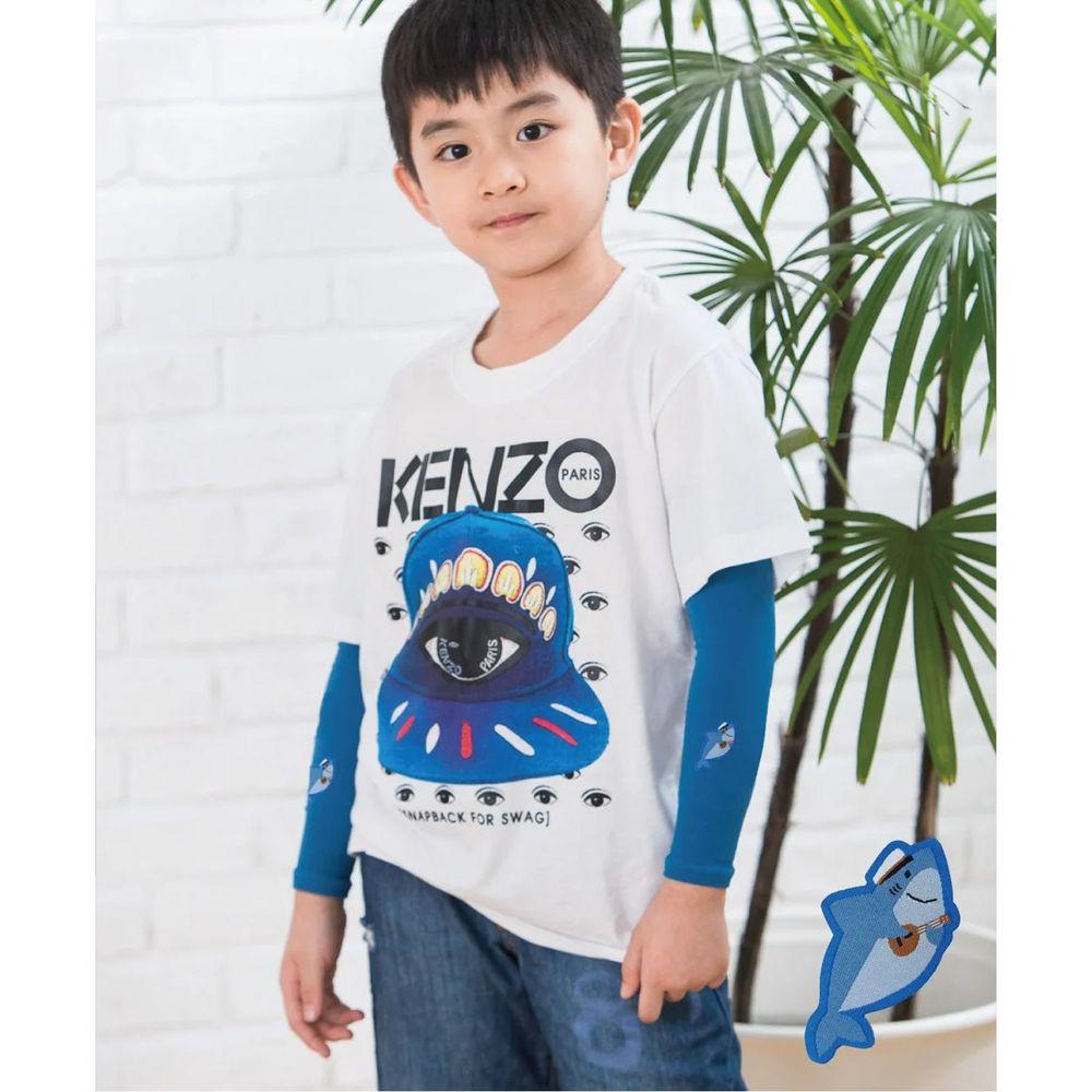 貝柔 Peilou - UPF50+兒童高效涼感防蚊抗UV袖套-(貼布繡)-鯊魚-藍 (F)
