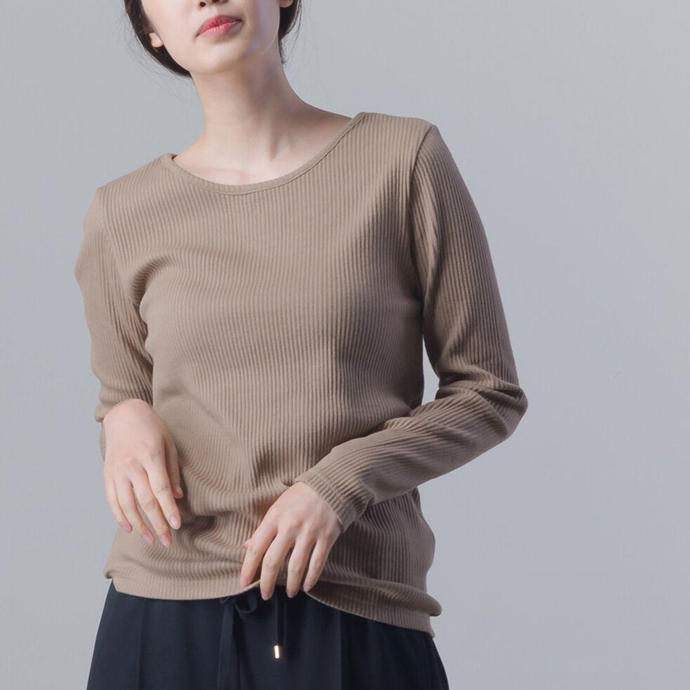 日本女裝代購 - 美背後V領純棉針織長袖上衣-摩卡棕 (Free size)