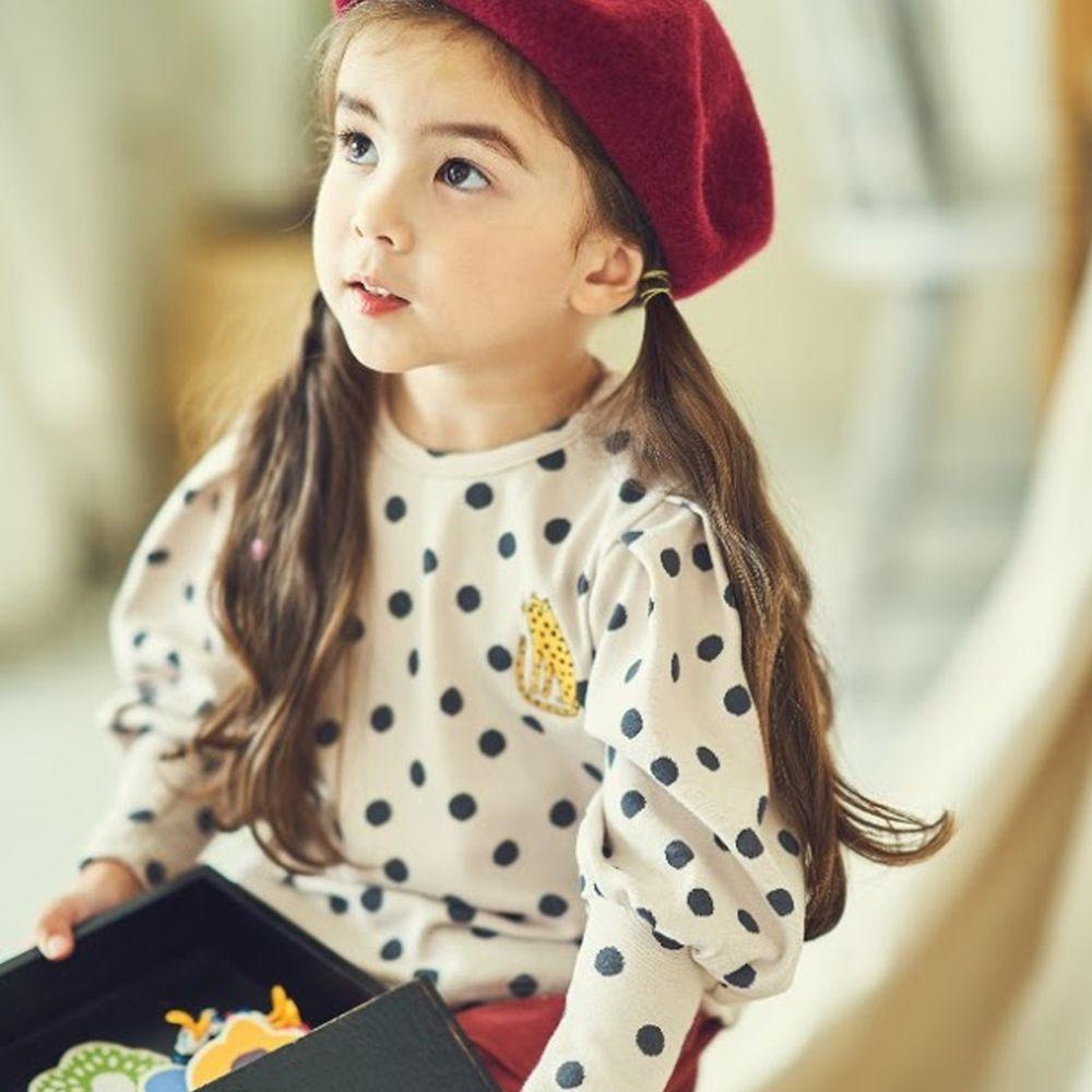 韓國 Mimico - 刺繡花豹點點公主袖上衣-燕麥