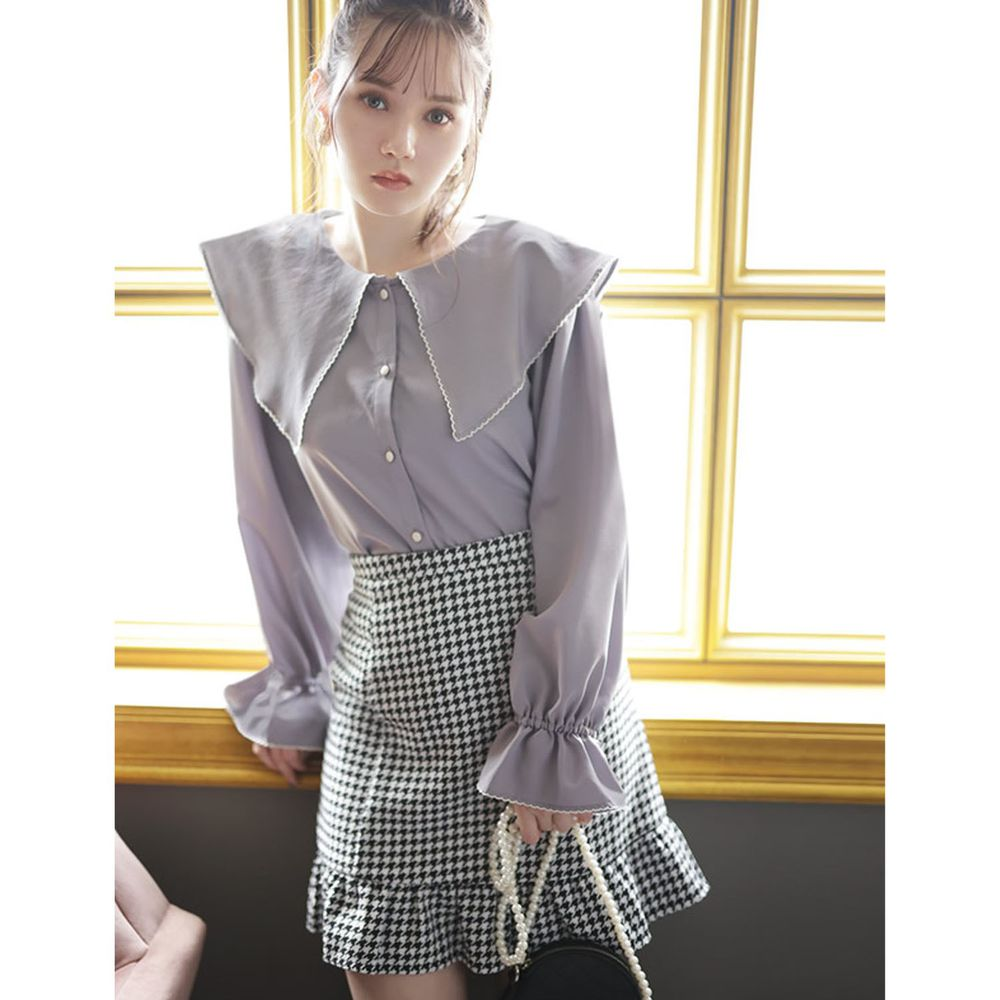 日本 GRL - 大尖領糖果束袖長袖襯衫-紫