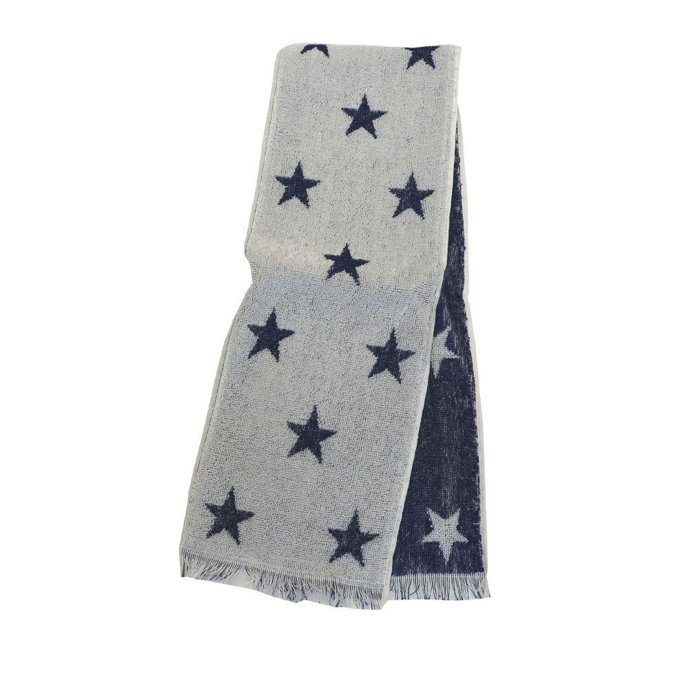 日本涼感雜貨 - 日本製 Eco de COOL 接觸冷感長毛巾-星星-深藍 (90x16cm)