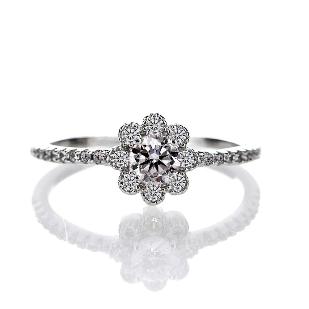 美國ILG鑽飾 - Flower 花之醉系列 0.25克拉鑽戒- 頂級美國ILG Diamond,媲美真鑽亮度的鑽飾【RI155】-加贈高級珠寶級絨布盒1個-外國抗敏材質電鍍頂級白K金色