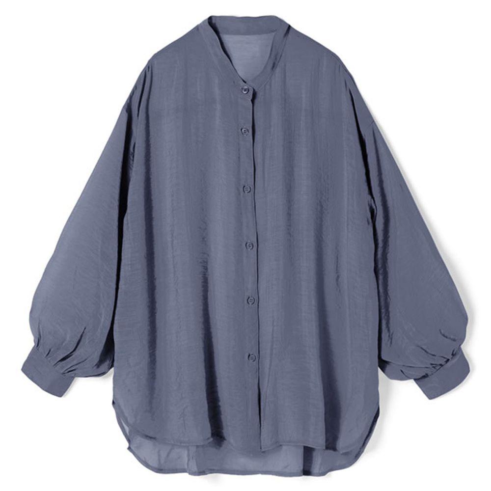 日本 GRL - 絲滑薄透感寬版長袖上衣/罩衫/外套-灰墨藍