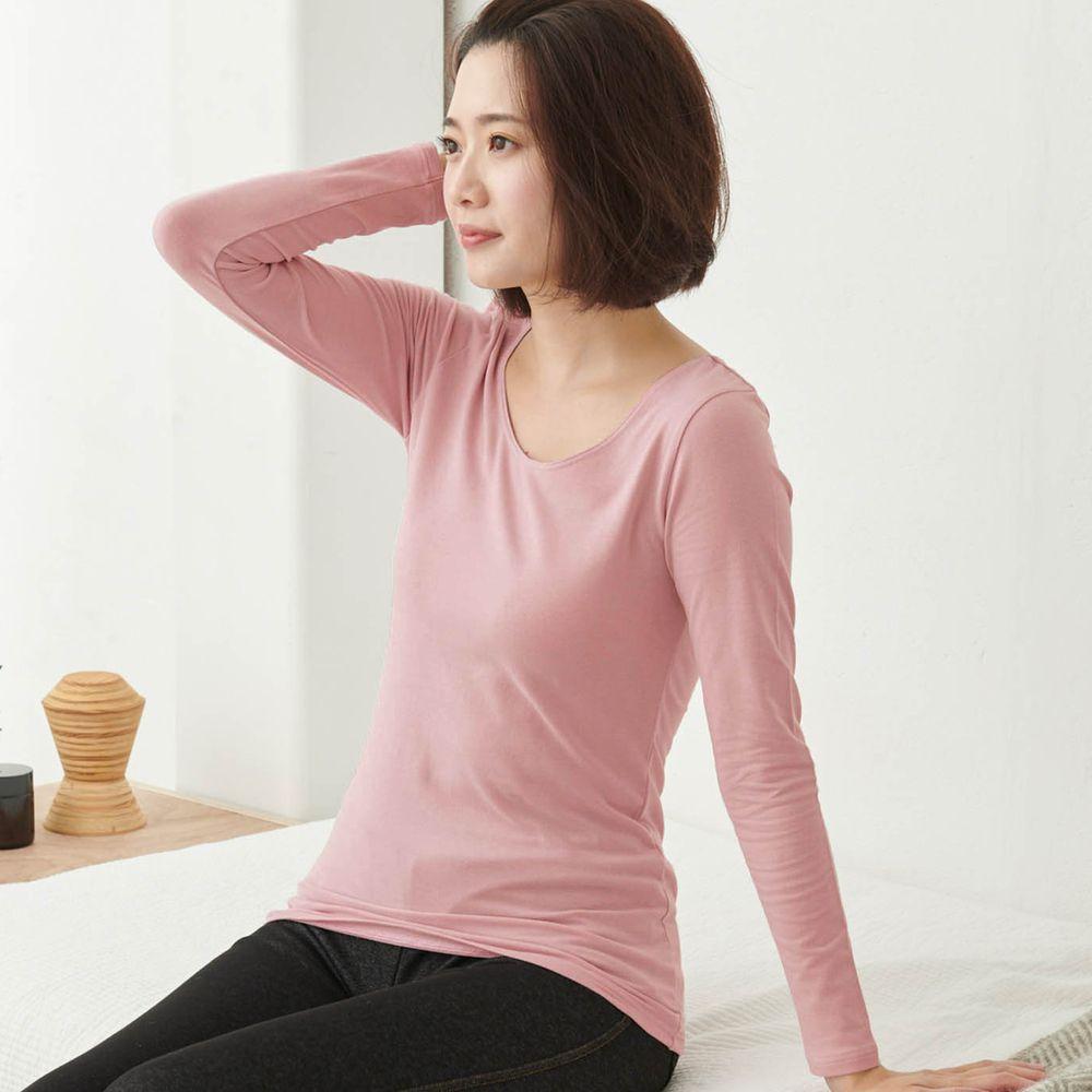 日本千趣會 - 95%棉 (媽媽)圓領十分袖發熱衣-粉紅