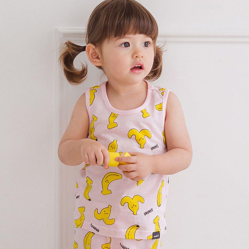 韓國 Cordi-i - 無螢光棉輕薄透氣無袖家居服-夏日香蕉-粉紅
