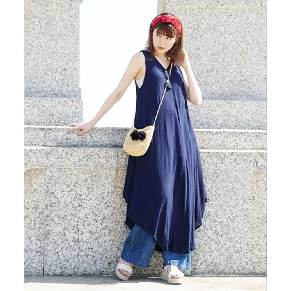 日本 zootie - 涼感不規則U型裙擺背心洋裝-海軍藍 (Free)